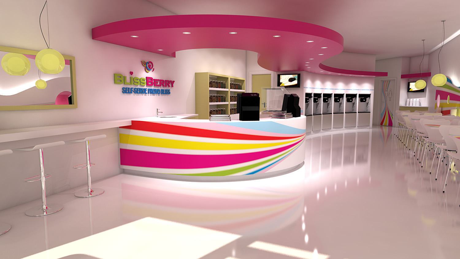 Frozen-yogurt-store-design-self-serve